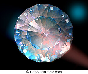 Diamond in colorful lights - A diamond sparkles in colorful...