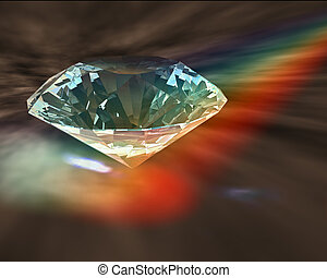 Diamond in rainbow - A diamond sparkles in rainbow lights