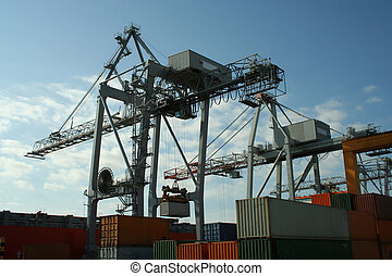 Container Cranes 2 - Container cranes at work in a modern...