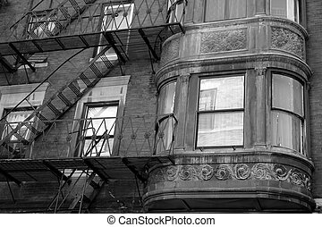 ornate rounded bay windows black and white one - ornate...