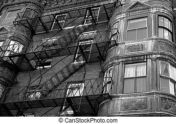 ornate rounded bay windows black and white two - ornate...