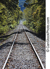 Tracks into the distance - Train tracks fading in the...