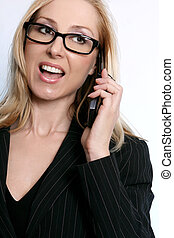 Business communications - Female having a conversation on a...