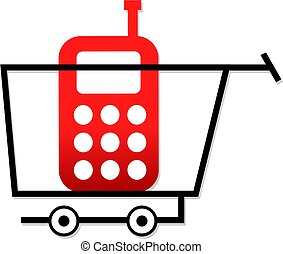 shopping for phones - simple drawing of a shopping cart...