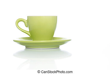 Green Coffee Cup on White background