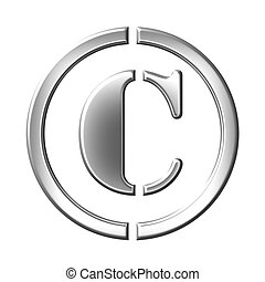 Sign of the copyrught,  silver bevel symbol