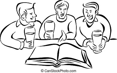 discussion group - group of young men discussing a book over...