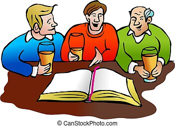 God with a pint - group of men discussing the bible over a...