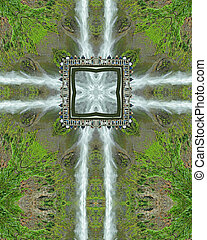 Multnomah Cross - kaleidoscope cross from photo of Multnomah...