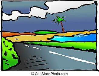 country road - illustration of a country road with some sea...