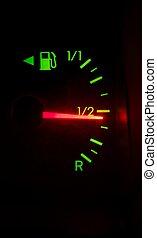Fuel meter - Dashboard shows fuel is half