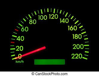Speedometer of a car, glowing gree, shows zero