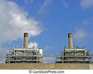 smoke stacks - two smoke stacks on power plant