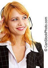 happy customer service girl - smiling customer service...