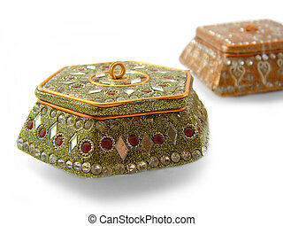 Trinket Boxes - Two jewelled trinket boxes isolated on white