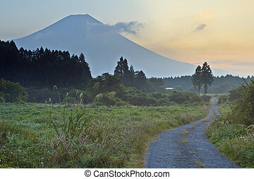 Country Road - A rural country road with mount Fuji looming...