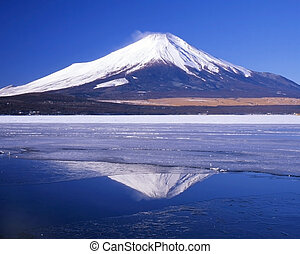 Cool Reflections - Mount Fuji and her reflections in a break...