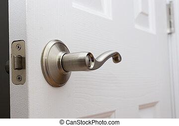 palanca, puerta, manija