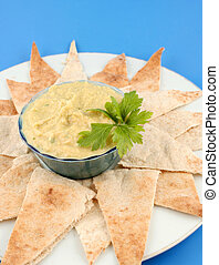 hummus and pita - fresh hummus and cut up whole wheat pita...