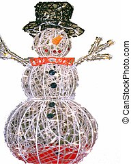 Lit Up Snowman - A white lit up snowman decoration.