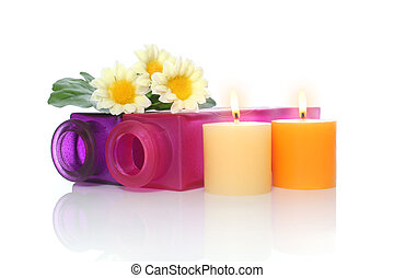 Candles, Bottles and Flowers