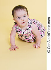 Happy baby - Cute baby carwling and smiling with copy  space