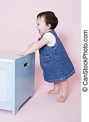 Happy baby - Cute baby standing and smiling with copy  space