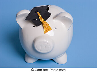Education savings - Piggy bank with a graduation cap
