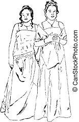 prom queens - delicate line drawing of two young women...