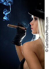 cigar girl 2 - backlight image of topless girl smoking cigar...