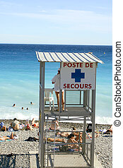 French lifeguard - lifeguard stands watch along the beaches...