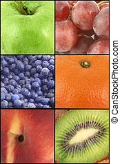 fruit collage - differen types of fruit made into a collage