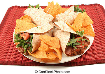 mexican food - colorful mexican fajitas, and crunchy nacho...