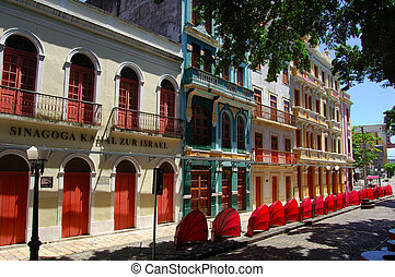 Old Recife, faade of the historical center - Old Recife,...