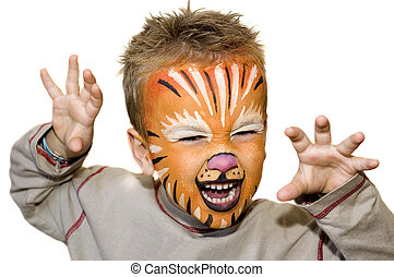 Angry lion - Kid with lion painted face On white background...