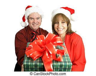 Your Christmas Gift - A cute couple with a Christmas gift...