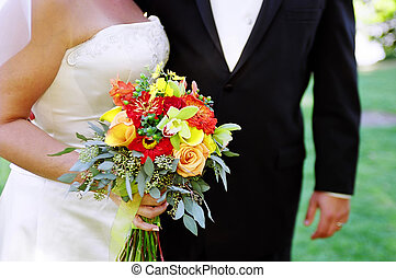 Newlyweds- Wedding - Detail shot of Bride with bouquet...