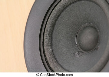 a generic black subwoofer, close up