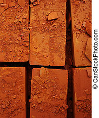 Damaged bricks close up photo - Nice for grunge textures