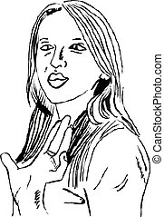waving girl - sketchy line drawing of a young woman waving