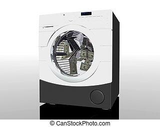 Money laundering - 3D illustration, household appliance,...