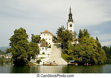 Bled, Slovenia - An island in the middle of Bled Lake in...