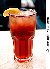 Iced tea - Glass of lemon iced tea with ice