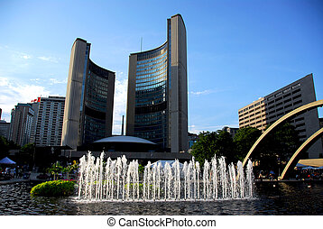 Toronto city hall - Nathan Phillips square in downtown...