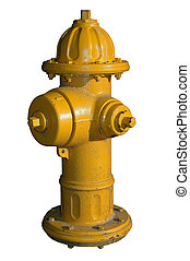 Yellow Fire Hydrant Isolated with Clipping Path