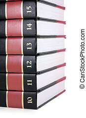 books (encyclopedia) with white background, concept of...