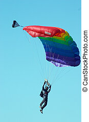 Skydiver in airshow. Novosibirsk, Airport Mochishe, august...