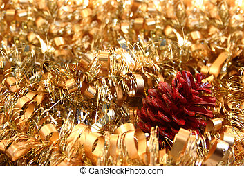 Christmas ornaments - red painted pine cone and gold...