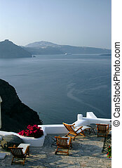 incredible santorini patio with view - greek island...