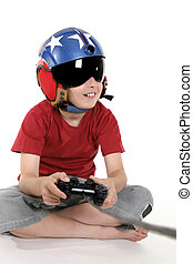 Child playing computer games - Child wearing a helicopter...